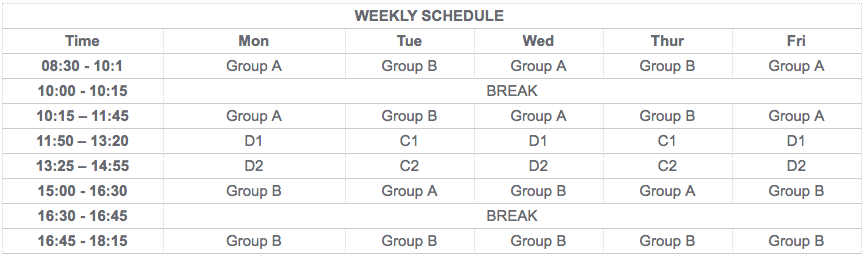 English Course Toronto Schedule
