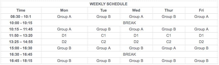 weekly schedule Canada